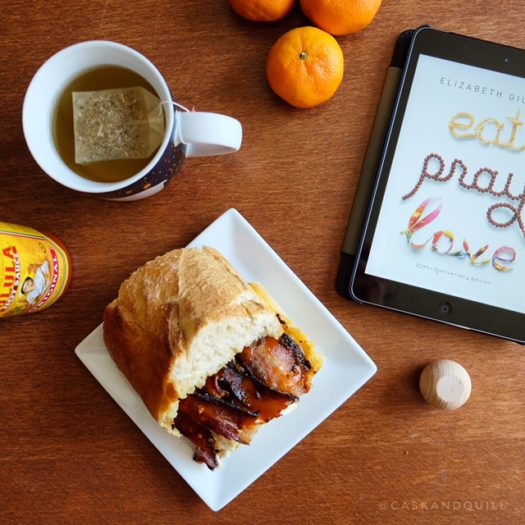 Eat Pray Love book cover and meal, food