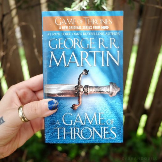 A Game of Thrones book cover, George R.R. Martin