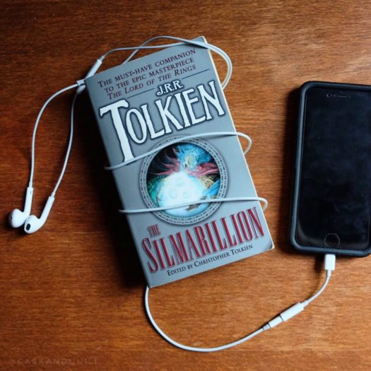 The Silmarillion cover and ear buds